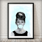 Audrey Hepburn Blue Bubble Gum - Fashion Photography Poster - Rock Salt Prints Ltd