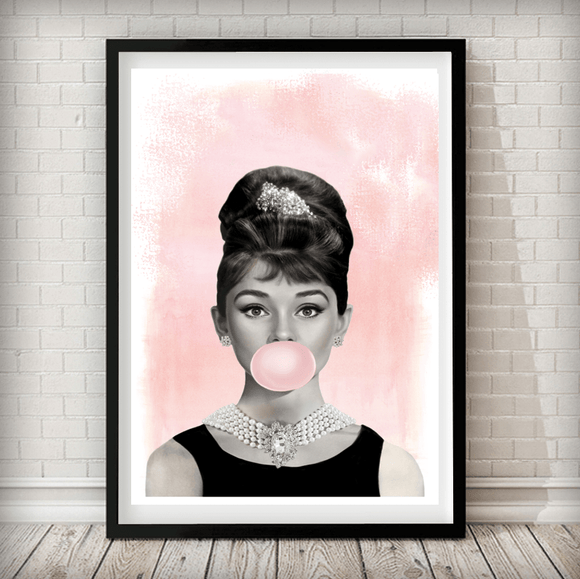 Audrey Hepburn Pink Bubble Gum - Fashion Photography Poster - Rock Salt Prints