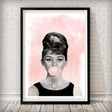 Audrey Hepburn Pink Bubble Gum - Fashion Photography Poster - Rock Salt Prints Ltd
