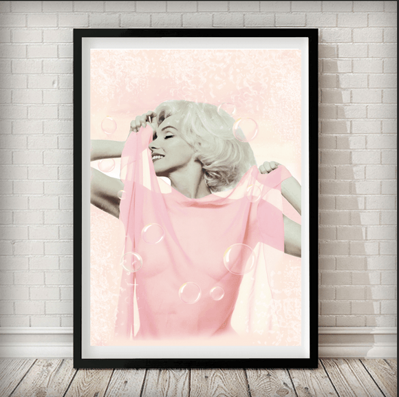 Marilyn Monroe Pink - Fashion Photography Poster - Rock Salt Prints Ltd