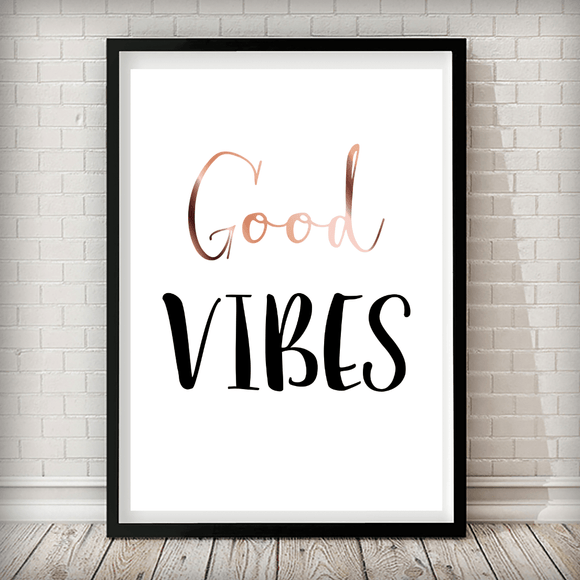 Good Vibes Typographic Art Print - Rock Salt Prints Ltd