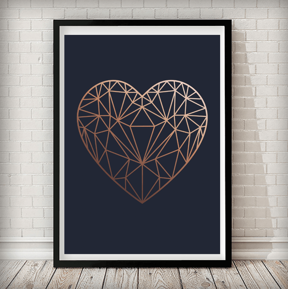 Copper Love Heart Navy Background Geometrical Art Print - Rock Salt Prints Ltd