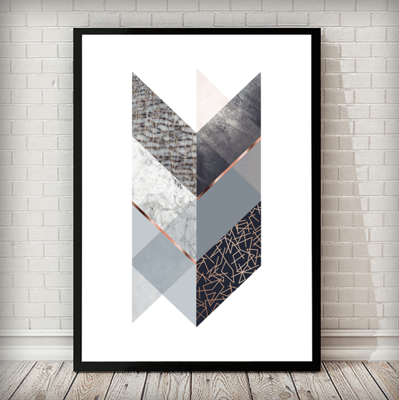 Geometrical Arrow Navy Snake Copper Grey Framed Graphic Art Print - Rock Salt Prints Ltd