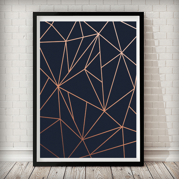 Copper Triangles Navy Background Geometrical Art Print - Rock Salt Prints