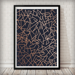 Copper Lines Navy Background Geometrical Art Print - Rock Salt Prints