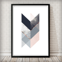 Geometrical Arrow Blush Pink Navy Copper Grey Blue Art Print - Rock Salt Prints