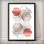 Hexagon Overload Sand Rose, Marble, Bronze Blush Pink Art Print - Rock Salt Prints