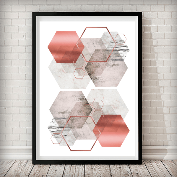 Hexagon Overload Sand Rose, Marble, Bronze Blush Pink Art Print - Rock Salt Prints Ltd