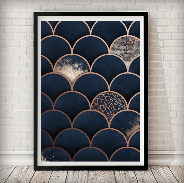 Copper Moroccan Navy Background Geometrical Art Print - Rock Salt Prints Ltd