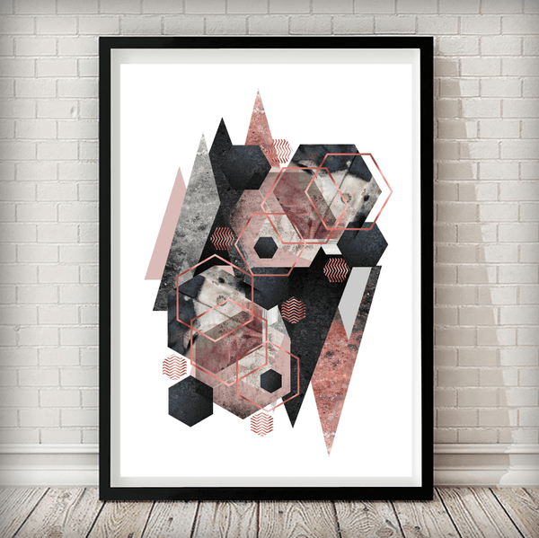 Geometric Overload Charcoal Grey Blush Pink Marble Abstract Art Print - Rock Salt Prints