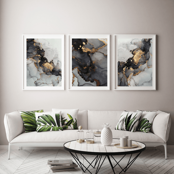 Gallery Wall Liquid Grey and Gold TRIO - Rock Salt Prints