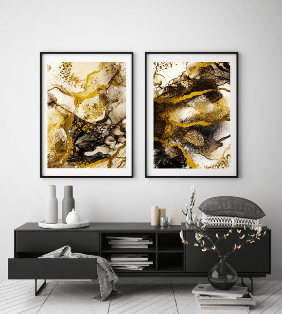 Gallery Wall Liquid Yellow, Brown and Gold DUO - Rock Salt Prints
