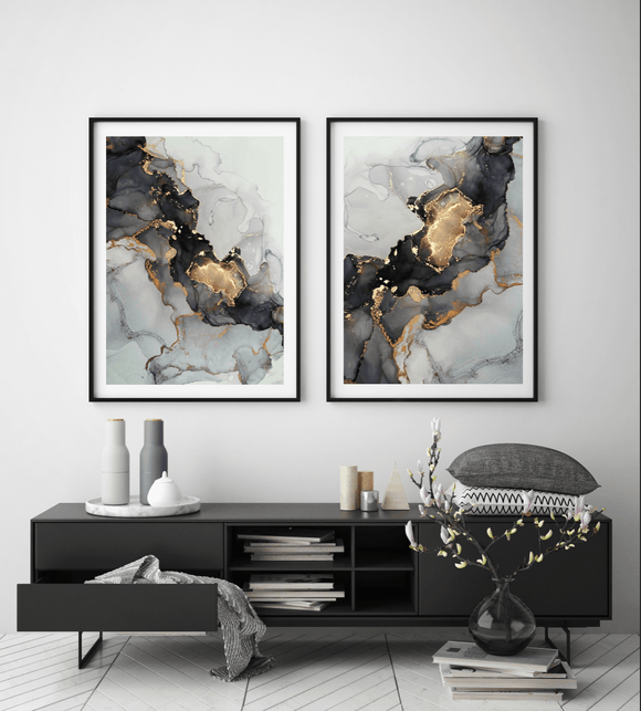 Gallery Wall Liquid Grey and Gold DUO - Rock Salt Prints