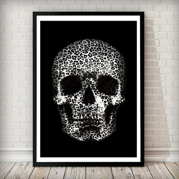 Silver Leopard Skull Art Print - Rock Salt Prints Ltd
