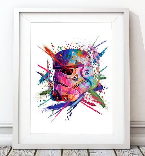 Crayon Stormtrooper Helmet Poster White - Star Wars Inspired Art Print - Rock Salt Prints Ltd