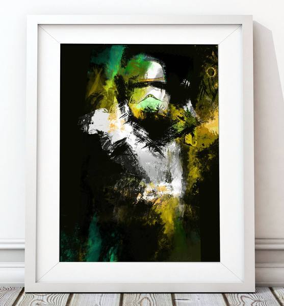 Colour Splash Yellow_Green Stormtrooper Poster - Star Wars Inspired Art Print - Rock Salt Prints Ltd
