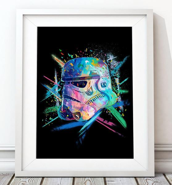Crayon Stormtrooper Poster in Blue - Star Wars Inspired Art Print - Rock Salt Prints