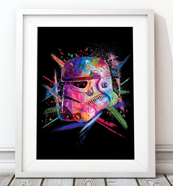 Crayon Stormtrooper Poster in Pink - Star Wars Inspired Art Print - Rock Salt Prints Ltd