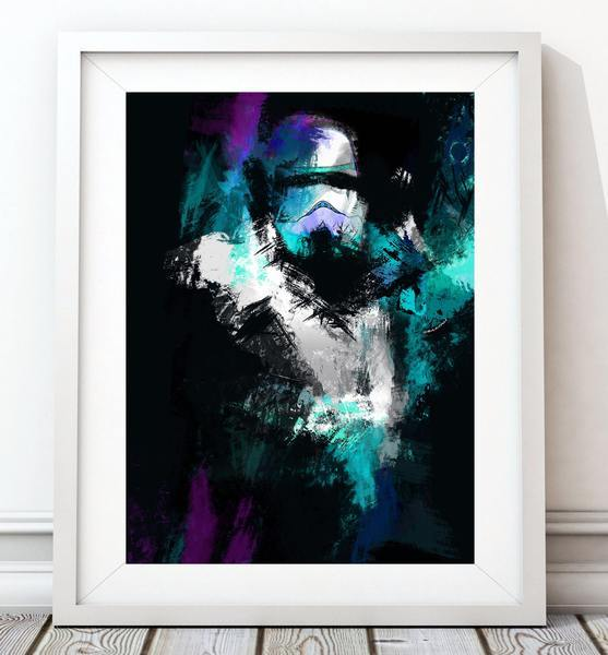 Colour Splash Blue_Purple Stormtrooper Poster - Star Wars Inspired Art Print - Rock Salt Prints Ltd
