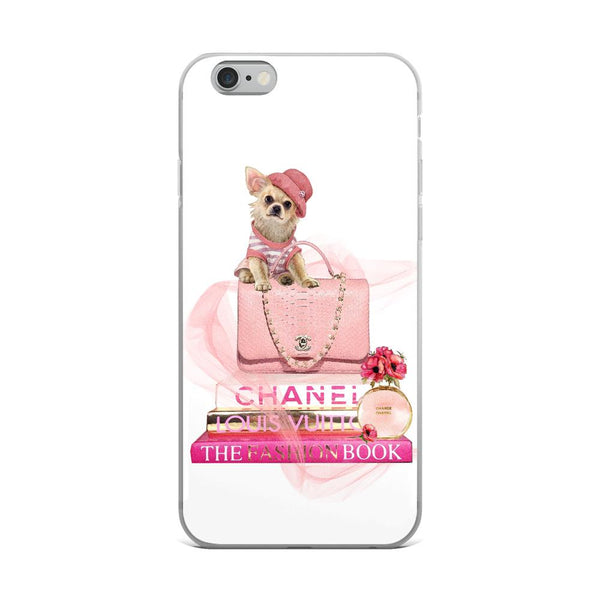 Fashion Books and Dog Pink iPhone Case - Rock Salt Prints Ltd