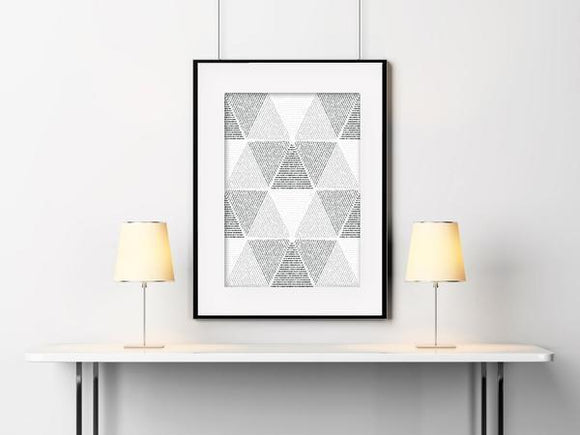 Triangles Abstract Black & White - Abstract Home Decor Art Print - Rock Salt Prints Ltd