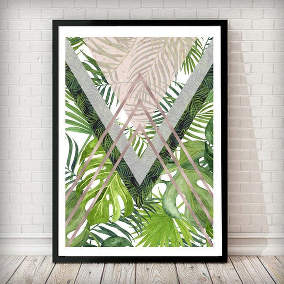 Tropical Leaves Rose Gold - Triangles Geometrical Art Print - Rock Salt Prints Ltd
