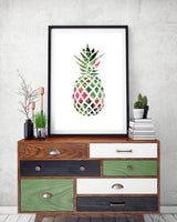 Tropical Pineapple PINK Geometrical Art Print - Rock Salt Prints Ltd