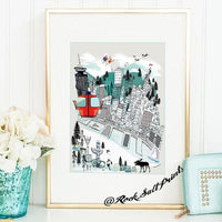 Vancouver Retro City Print - Rock Salt Prints Ltd