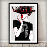 Vogue Lady in Hat Fashion Magazine Cover Art Print - Rock Salt Prints