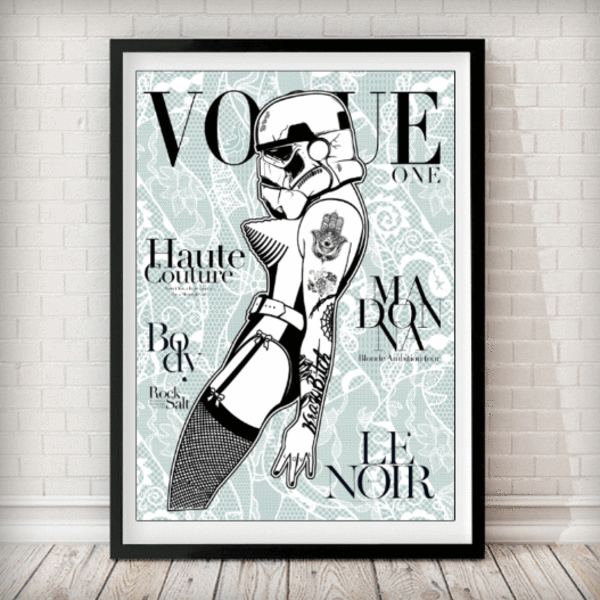 VOGUE Cover - Stormtrooper Madonna Duck Egg Lace Star Wars Art Print - Rock Salt Prints Ltd