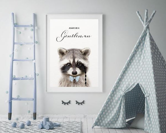 WOODLAND NURSERY - ALWAYS BE A GENTLEMAN RACCOON  ART PRINT - Rock Salt Prints