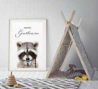 WOODLAND NURSERY - ALWAYS BE A GENTLEMAN RACCOON  ART PRINT - Rock Salt Prints Ltd