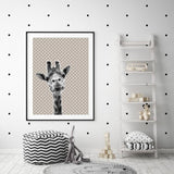 WOODLAND NURSERY - BABY GIRAFFE GREY STAR ART PRINT - Rock Salt Prints Ltd