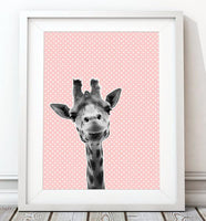 WOODLAND NURSERY - BABY GIRAFFE PINK POLKA DOT ART PRINT - Rock Salt Prints Ltd