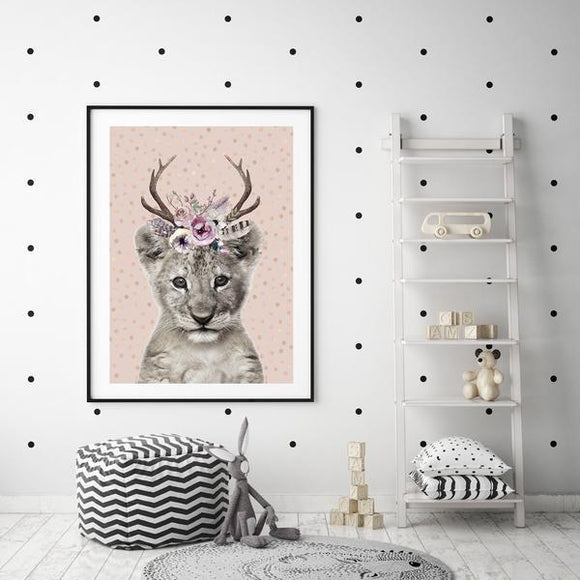 WOODLAND NURSERY - BABY LION ART PRINT - Rock Salt Prints Ltd