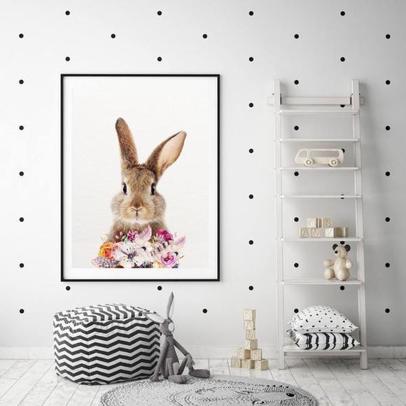 WOODLAND NURSERY - BUNNY AND FLOWERS  ART PRINT - Rock Salt Prints