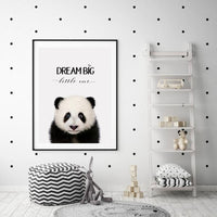 WOODLAND NURSERY - DREAM BIG LITTLE ONE PANDA  ART PRINT - Rock Salt Prints Ltd