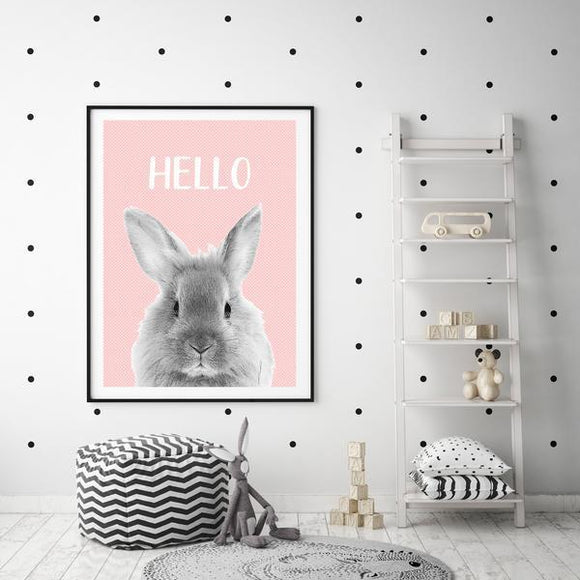 WOODLAND NURSERY - HELLO BUNNY PINK ART PRINT - Rock Salt Prints