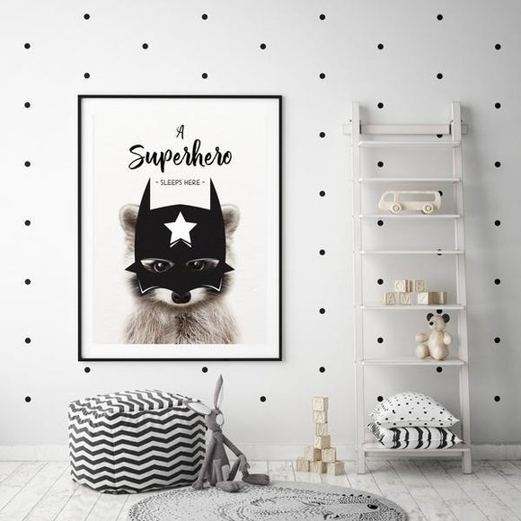 WOODLAND NURSERY - SUPERHERO SLEEPS HERE RACCOON ART PRINT - Rock Salt Prints Ltd
