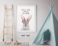 WOODLAND NURSERY - YOUR VIBE ATTRACTS YOUR TRIBE BUNNY ART PRINT - Rock Salt Prints Ltd
