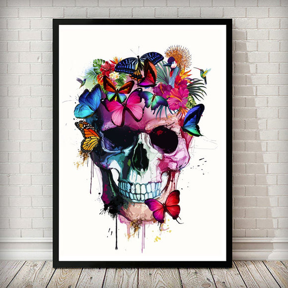 Watercolour Butterfly Skull Head Front Tropical Art Print - Rock Salt Prints Ltd
