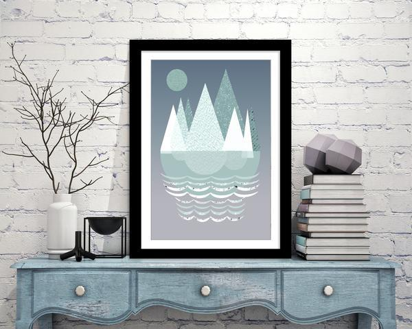 Mountains Blue Art Print - Rock Salt Prints Ltd