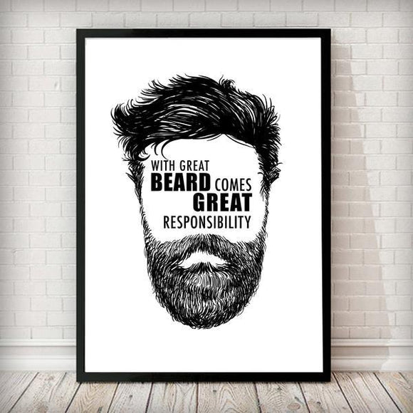 With great beard comes great responsibility - Typography Art Print - Rock Salt Prints Ltd
