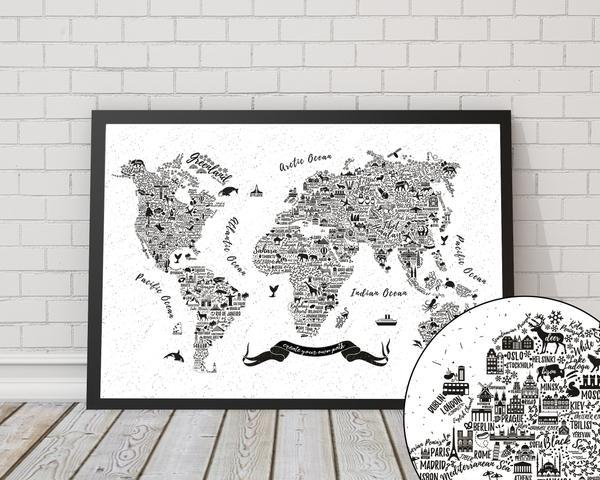 Typography World Map City Artwork - Rock Salt Prints Ltd