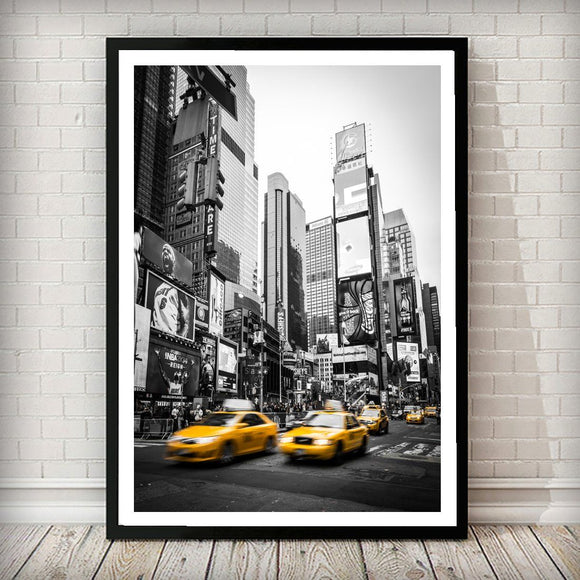 Yellow Cab at Times Square New York City Art Print - Rock Salt Prints Ltd