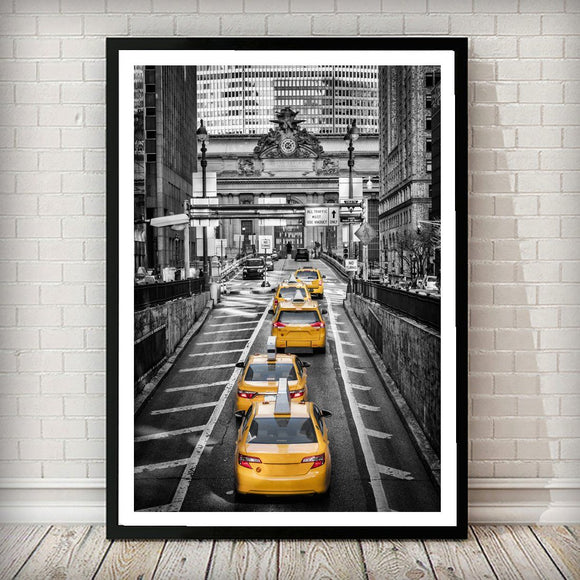Yellow cabs on Park Avenue New York City Art Print - Rock Salt Prints Ltd