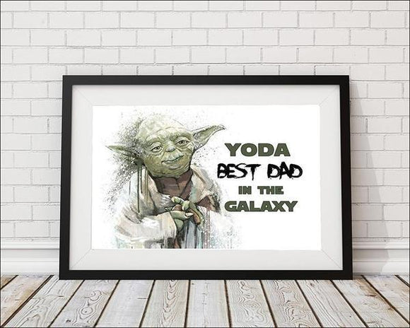 Yoda Best Dad in the Galaxy  - White Star Wars Art Print - Rock Salt Prints