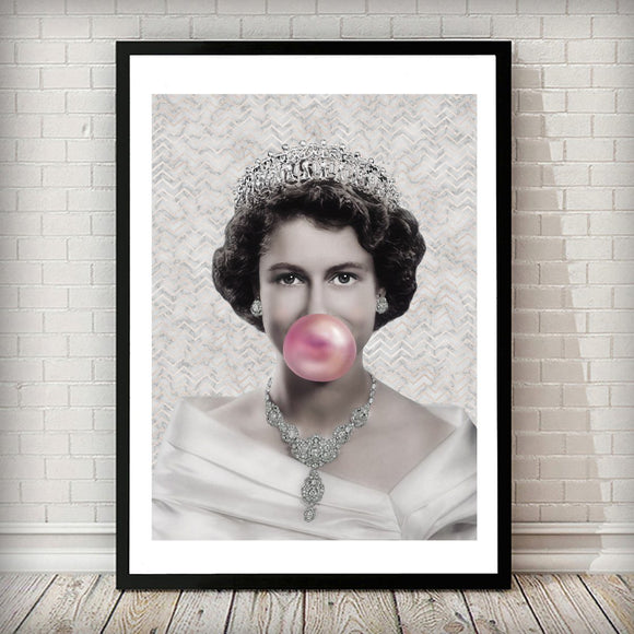 Young Queen Elizabeth II - Pink Bubblegum - Rock Salt Prints
