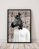 Zebra Dude - Old News Paper Animal Art Print - Rock Salt Prints Ltd