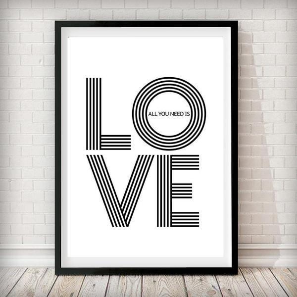 All you need is love - Typography Art Print - Rock Salt Prints